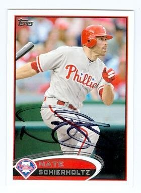 Nate Schierholtz autographed baseball card (Philadelphia Phillies) 2012 Topps #US199 - MLB Autographed Baseball Cards