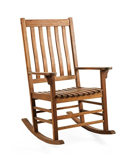 Plow & Hearth 62A76-NT Slatted Eucalyptus Wood Porch Rocking Chair, Natural Stain