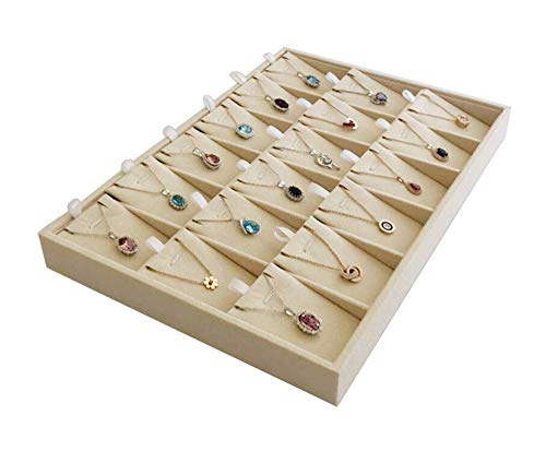 - Beige Velvet Jewelry Display Box Tray Pendant Necklace Stackable Trade Show Store Multi Function (Pendants)