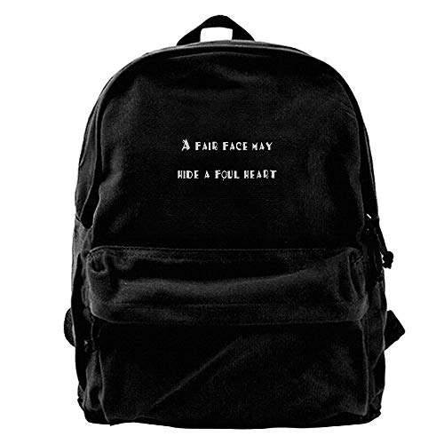 AiLe HLOL A Fair Face May Hide A Foul Heart Fashion Canvas Shoulder Backpack for Men & Women Teens College School Bag Travel Daypack Bags Black -