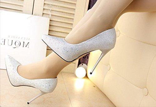 Olici MDRW-Lady Elegant Arbeit Freizeit Feder Silber Strass Strass Strass Hochzeit Schuhe Fein 11 cm Spitz High-Heeled Schuhe Schuhe Schuhe All-Match 42c85a