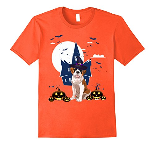 Mens Happy Halloween Little Witch Saint Bernard T-Shirt Dog Lover 2XL (Saint Bernard Puppy Halloween)