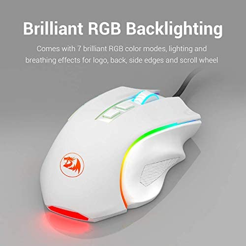 Redragon M602 RGB Wired Gaming Mouse RGB Spectrum Backlit Ergonomic Mouse Griffin Programmable with 7 Backlight Modes up to 7200 DPI for Windows PC Gamers (White) 41jSVFA0DuL