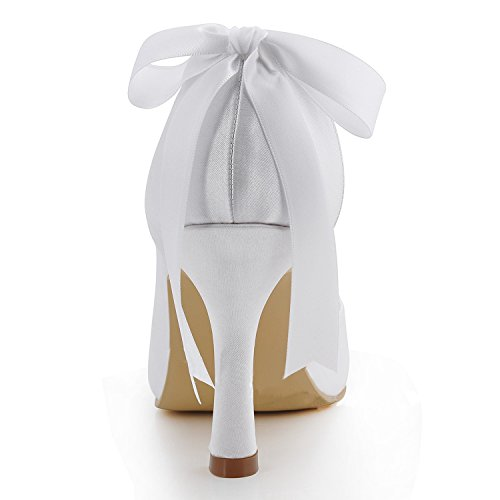 Tallone Mz591 Da Donna Tacco A Spillo Tacco A Spillo In Raso Bianco Tacco Da Sposa 9cm