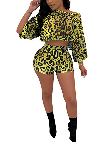Sexy 2 Piece Outfits Snakeskin Print Bodycon Set Long Sleeve Crop Top Yellow