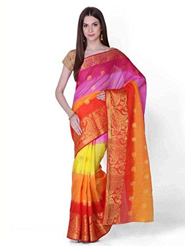 Indian Geroo Handicrfats Export Saree Jaipur Silk amp; Multicoloured Art Red Colourblocked Oxx4qw