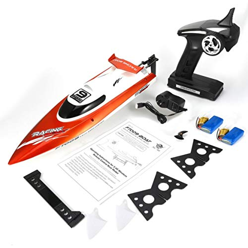 Feilun FT009 2.4G 4CH Water Cooling RC Racing Boat 30km/h Super Speed Electric RC Boat Toy Remote Control Boats 2 Batteries ()