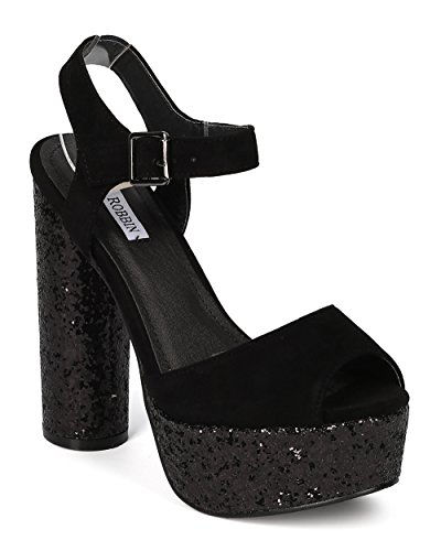 Women Faux Suede Glitter Block Heel - Party, Costume, Retro - Platform Heel - GE35 By Cape Robbin - Black (Size: (Creative Cute Women Halloween Costumes)