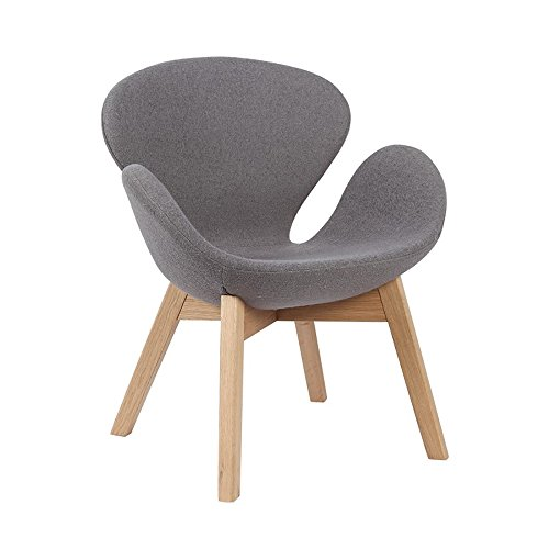 This arm chair use for living room waiting room coffee room- Elegant Soft Cashmere wool cover with Oak wood leg Arm chair Swan seat style for commercial or living room Grey color 41jSVzubqVL