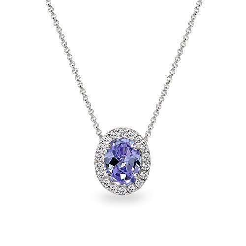Sterling Silver Simulated Tanzanite Oval Halo Slide Pendant Necklace with CZ Accents (Tanzanite Pendant)
