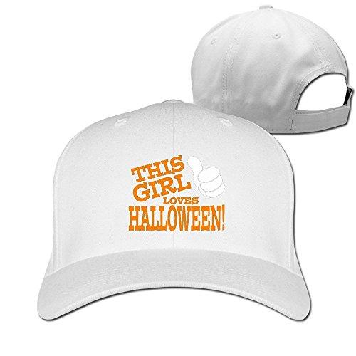 Runy Custom This Girl Loves Halloween Adjustable Hunting Peak Hat & Cap White