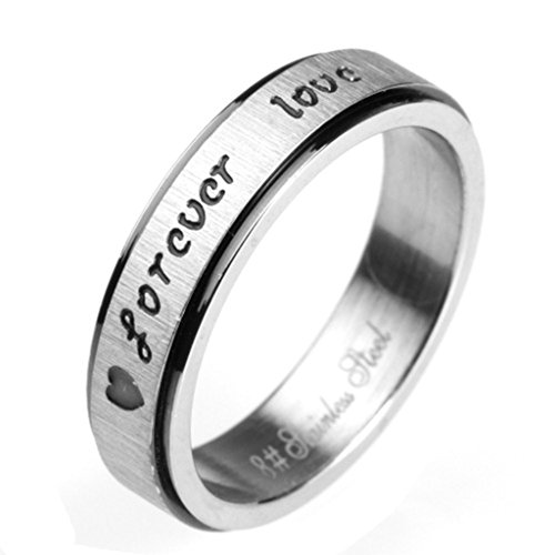 Epinki Mens Accessories Stainless Steel Ring Brushed Ring Engraved Forever Love Retro Gothic Punk Style Ring Size 5 ()