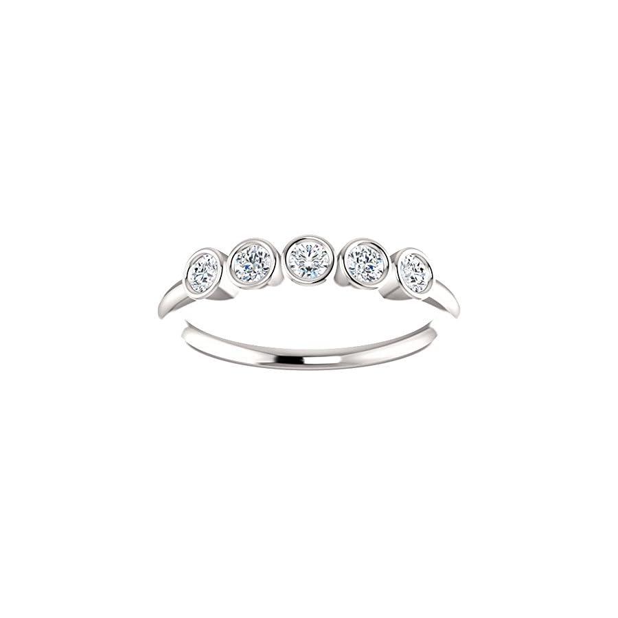 1.00 ct Ladies Round Cut Diamond Bazel Set Ring in Platinum
