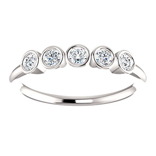 1.00 ct Ladies Round Cut Diamond Bazel Set Ring in 18 kt White Gold