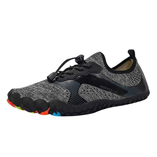 HULKAY Upgrade Men Water Sports Shoes Quick Dry Barefoot Aqua Socks Swim Shoes Pool Beach Walking Running(Gray,US:8.5/CN:42)