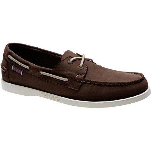 (Sebago Docksides Slip On Shoes 10.5 D(M) US Dark Brown Nubuck)