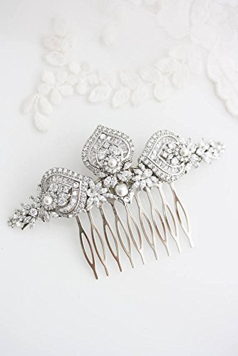 Art Deco Bridal Hair Comb in Crystal and Silver by Lulu Splendor