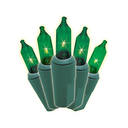 Brite Star 100 Count Mini String to String Lights, Green Wire, Green ()