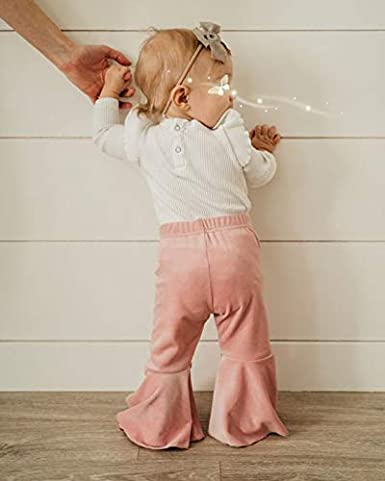 Baby Girls Flare Pants Outfit Blue Denim Jeans Toddler Ruffle Floral Leggings Infant Trousers Bell Bottom Clothes