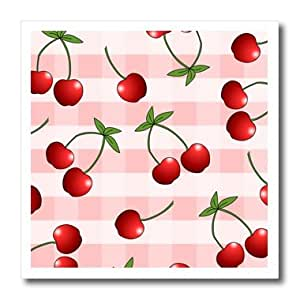 ht_24733_1 Janna Salak Designs Prints and Patterns - Cherry Print Juicy Red Cherries on Pink Check - Iron on Heat Transfers - 8x8 Iron on Heat Transfer for White Material
