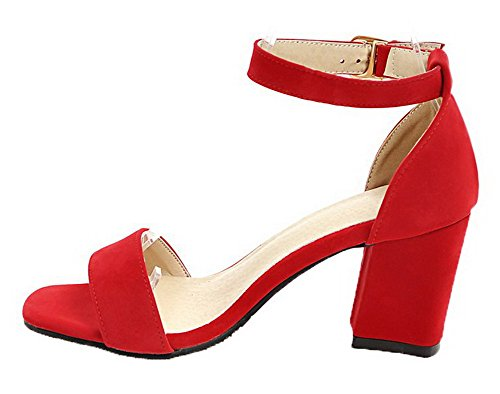Toe WeiPoot Frosted Solid Sandals EGHLG004852 Women's Open Buckle Kitten Red Heels Zaw7qR0Z
