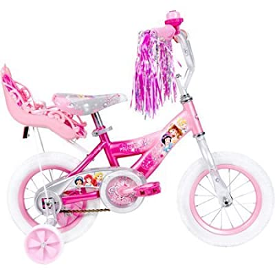 12 Huffy 52454 Steel Bicycle Frame Disney Princess Girls' Bike with Doll Carrier, Pink Color by Huffy : Sports & Outdoors