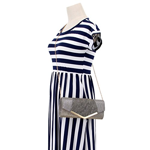 Gabrine Fabric Wedding Party Clutch Sequins Bag Purse Handbag Material Shiny Womens 00973 Envelop Evening Prom for Gray zq1xwz7r