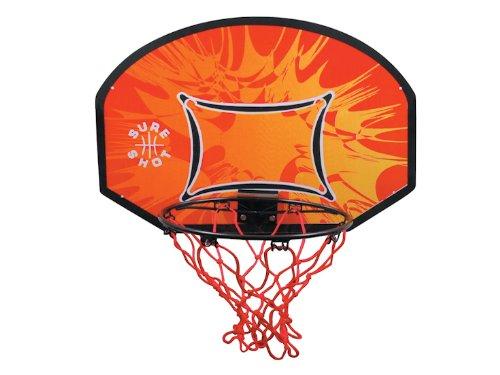 Sure Shot Little Shot Retail, Tabellone da Basket con canestro, tabellone 60cm x 43cm e diametro 34cm, Colore: Arancione/Nero