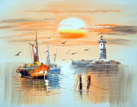 Oil Painting 'Wall Boats,Sea Gulls,Lighthouse And Sun', 10 x 13 inch / 25 x 33 cm , on High Definition HD canvas prints is for Gifts And Kids Room, Kitchen And Powder Room Decoration, own
