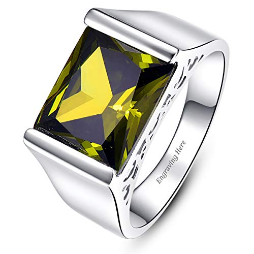 BONLAVIE Customized Engraving Name or Text 925 Sterling Silver Promise Rings for Men with Emerald Cut Created Green Peridot Vintage Finger Ring Size - Created Peridot Stainless Steel Ring