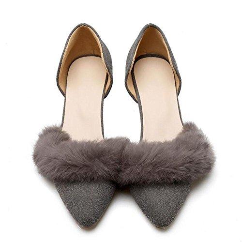 Matte européenne cuir Pointu faible talon sandales femme en peluche Décoration , grey , 43