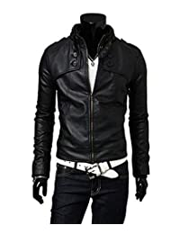 Men's Slim Fit Stand Up Collar Faux Leather Jacket
