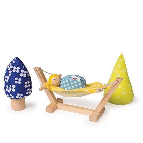 MiO Wooden Hammock & Tree Set + 1 Bean Bag Person Peg Doll - 4 Piece Imaginative Play Kit by Manhattan Toy