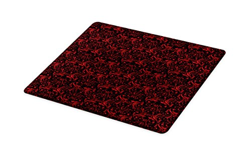 Ambesonne Red and Black Cutting Board, Victorian Floral Design with Ivy Swirls Flowers Ethnic Design Image Print, Decorative Tempered Glass Cutting and Serving Board, Large Size, Ruby (Black Floral Swirls Design)