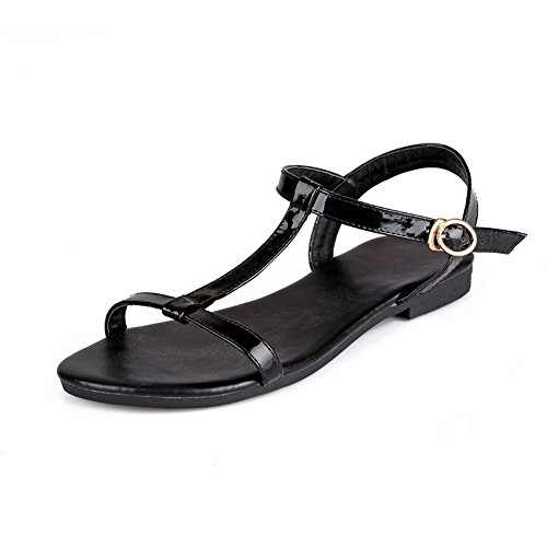 VogueZone009 Women's Open Toe No-Heel PU Solid Buckle Flats-Sandals Black cxQnlRlB