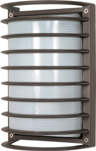 Nuvo Lighting 60/577 Bulkhead 1-Light Rectangle Cage Energy Star CFL, Architectual Bronze