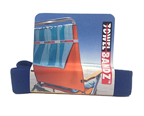 TOWELBANDZ - Assorted Colors - Towel Holder - Clips Towel to Beach Chair or Pool Loungers - Keeps Your Towel From Blowing Away - Towelbands - Towel Bands (Solid Dark (Assorted Lounger)