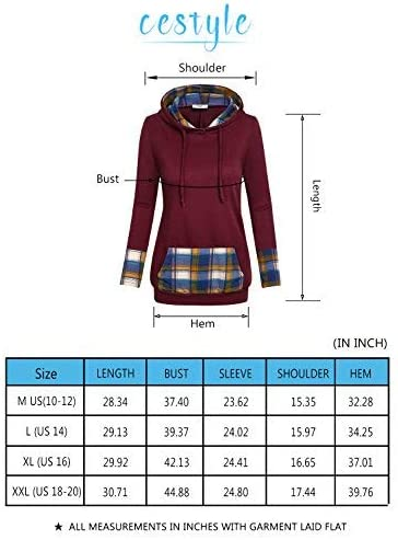 Cestyle Women's Long Sleeve Color Block Casual Pullover Hoodie Sweatshirt