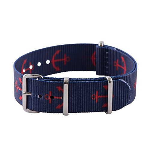 Clockwork Synergy Premium Nylon Nato Watch Straps bands Stainless Steel Hardware (20mm, Red Anchor / Navy) ()