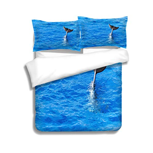 MTSJTliangwan Duvet Cover Set Trained Dolphins Tail fin Performing on Water 3 Piece Bedding Set with Pillow Shams, Queen/Full, Dark Orange White Teal Coral