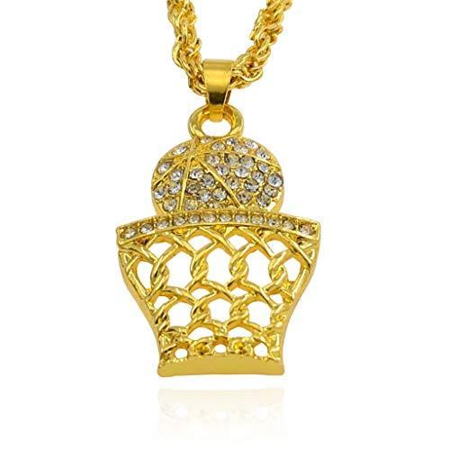 (Peigen Pendant Necklace Diamond, Girls Necklace Hip Hop Pendant Jewelry Basketball Grid Pendant Necklace-Creative)