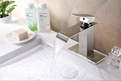 Sale!! OOFAY Contemporary Brushed Nickel Stainless Steel Waterfall Bathroom Sink Faucet