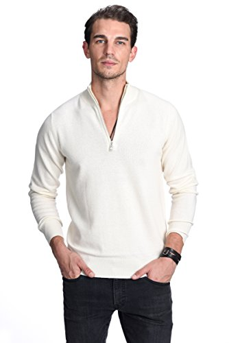 - State Cashmere Men's 100% Pure Cashmere Pullover Half Zip Mock Neck Sweater (Medium, White)