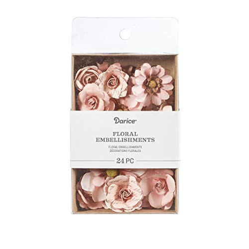 Paper Embellishments Flower (Darice 30061966 Mulberry Floral Embellishments: Pink, 1.75 inches, 24 Pack)