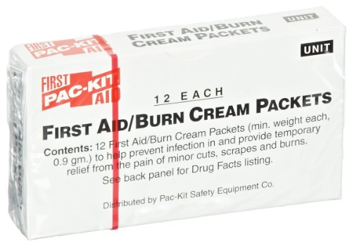Pac-Kit by First Aid Only 13-006 First Aid/Burn Cream Packet (Box of 12) (Refill Aid Kit First)