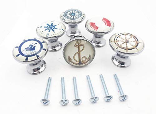 (Nautical Boat, Anchor, Ocean Themed Drawer Pulls, Cabinet Pulls, Dresser Knobs - Set of 6 Knobs)