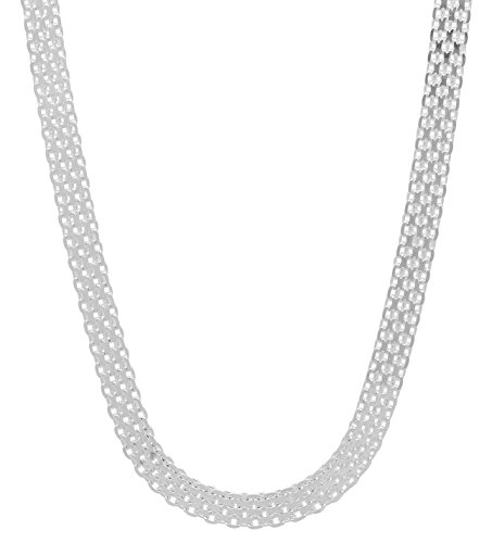 (925 Sterling Silver Nickel-Free 5mm Bismark Chain Necklace Made in Italy, 28