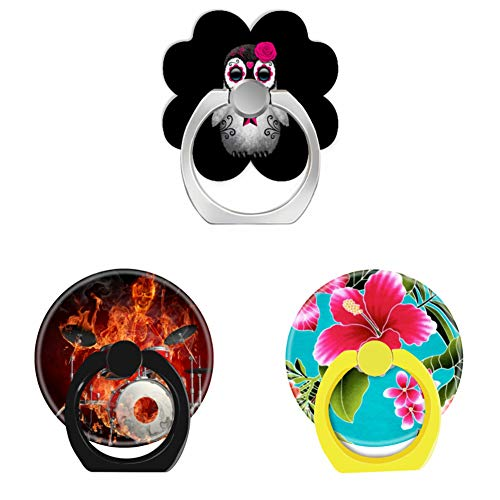 Bsxeos 360°Rotation Cell Phone Ring Holder with Car Mount Work for All Smartphones and Tablets-Flaming Skeleton on Drums-Hawaiian Flowers-Pink Day of The Dead Sugar Skull Penguin Black(3 - Drums Flaming