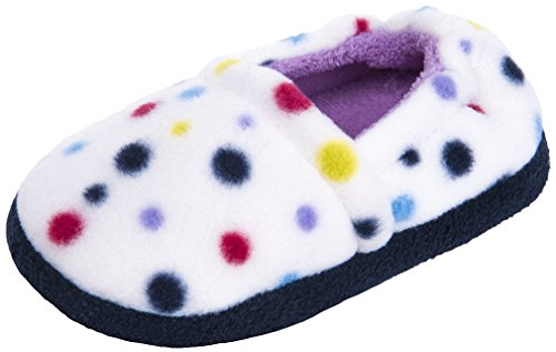 MIXIN Girls Memory Foam Indoor Outdoor Winter Warm Cute Soft Cozy Slip on Non Slip Slippers Shoes(Toddler/Little Kid) Dots Size 9-10 M by MIXIN (Image #1)