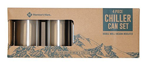 4 Piece Chiller Can Set - For 12oz Cans - Lightweight 18/10 Stainless Steel (Double Wall Vacuum Insulated)